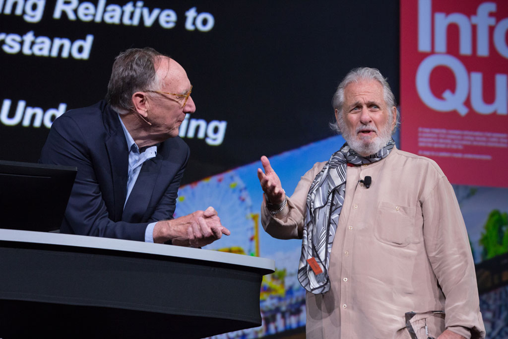 Dangermond listens to Richard Saul Wurman talk about his love of maps.