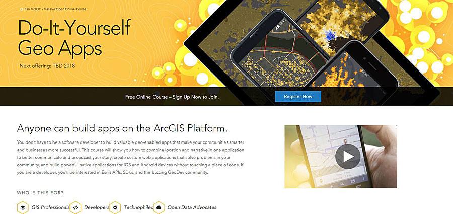 The Do-It-Yourself Geo Apps MOOC teaches people how to develop their own geospatial tools.