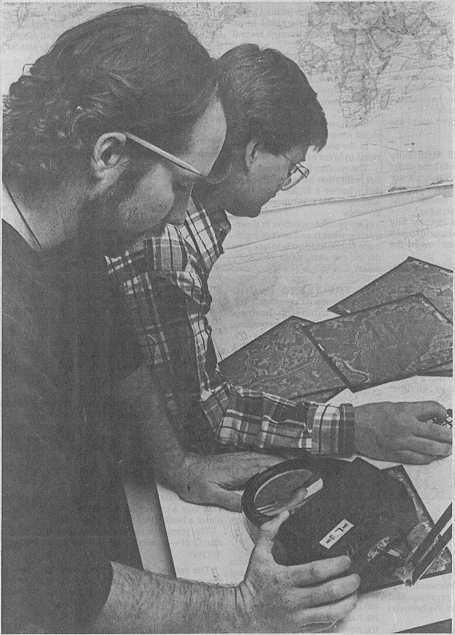 Tim Nolan (right) and Steve Korzekwa work as GIS interns at the University of North Texas about 25 years ago.