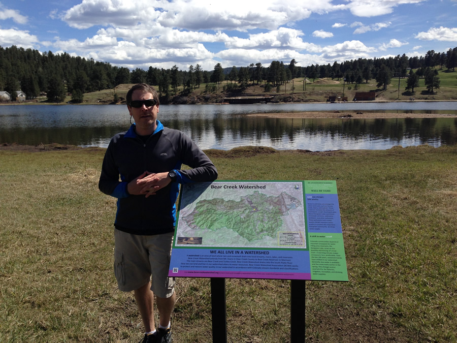 Matthews created this map of the Bear Creek Watershed boundary for the Evergreen Metropolitan District, which provides water and wastewater treatment services to his hometown of Evergreen.