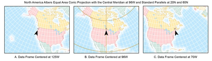 Figure 2. These maps show a north arrow using the true north alignment option.