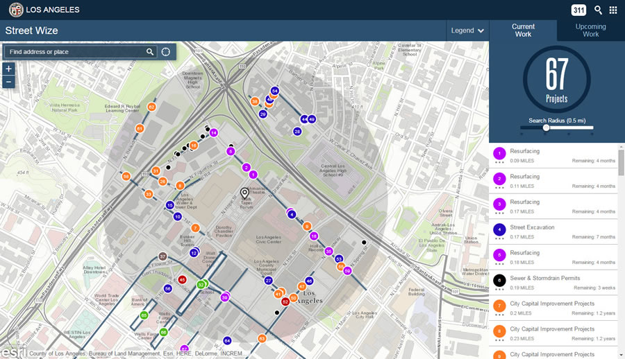 You can use the Street Wize mapping app to see the location of sewer and storm drain, street excavation, street resurfacing, and other projects in downtown Los Angeles. The map also includes information such as how long each project will take to complete.