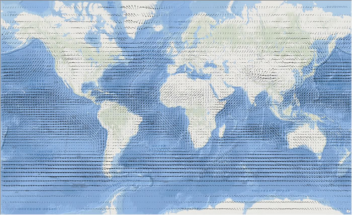 Figure 1. This map shows wind moving across the earth's surface. It was created using a vector flow mapping technique.