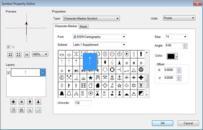 Figure 4. An arrow glyph in the ESRI Cartography font can be used in a character marker symbol to show the vectors.