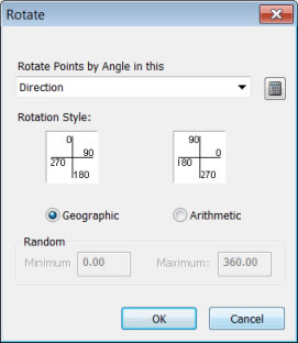 Figure 7. Set the attribute with the direction information and rotation style using the Rotate dialog box.