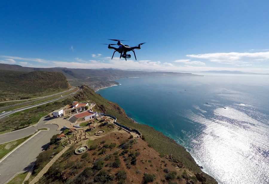 The Solo drone from 3DR captures stunning imagery as it hovers above the Pacific Coast. Representatives from 3DR will demonstrate its drones at the forum.