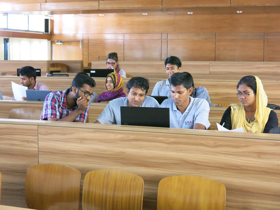 Khulna University students digitize field notes onto the map. Photo/Chad Blevins