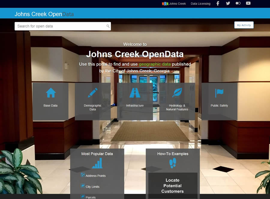 The Johns Creek OpenData Portal contains a wide variety of geographic data.