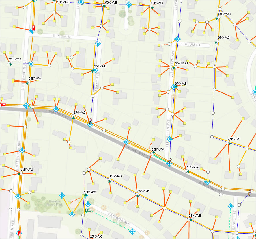An electric network for a neighborhood is displayed using ArcGIS.