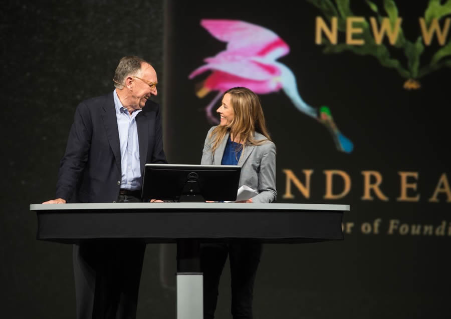 Esri president Jack Dangermond chats with author and historian Andrea Wulf about Humboldt during the Esri User Conference in San Diego, California, in June.