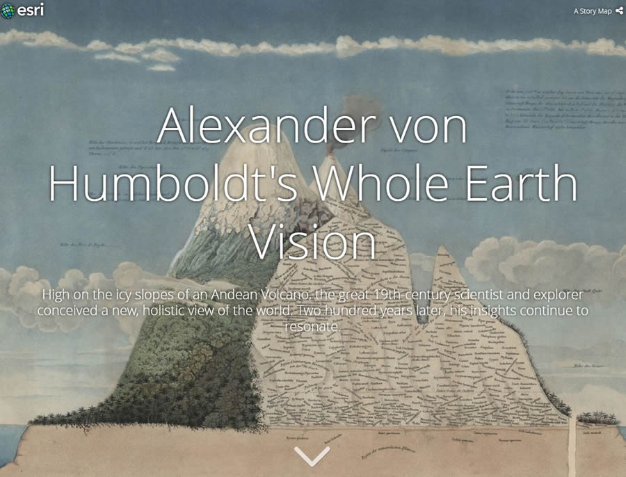 Esri created a story map using the Story Map Cascade app to showcase Humboldt's travels and discoveries in South America. This story map uses maps, text, photos, portraits, drawings, and infographics.