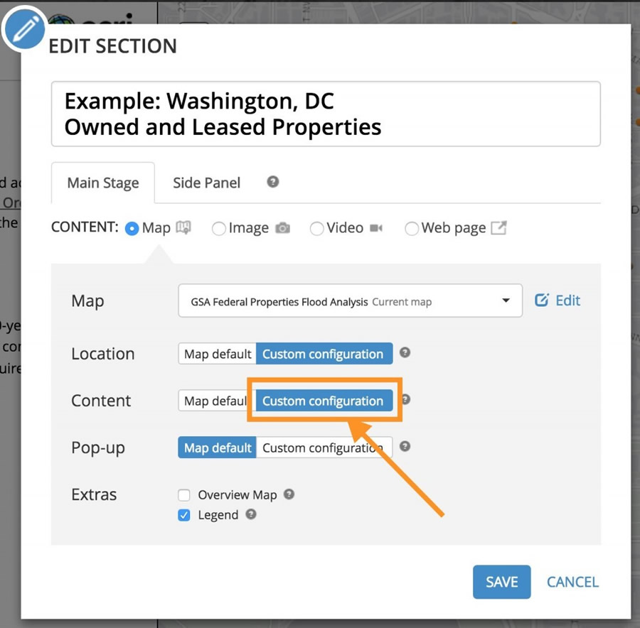 Set a custom configuration for Content to toggle layer visibility in a story map section.