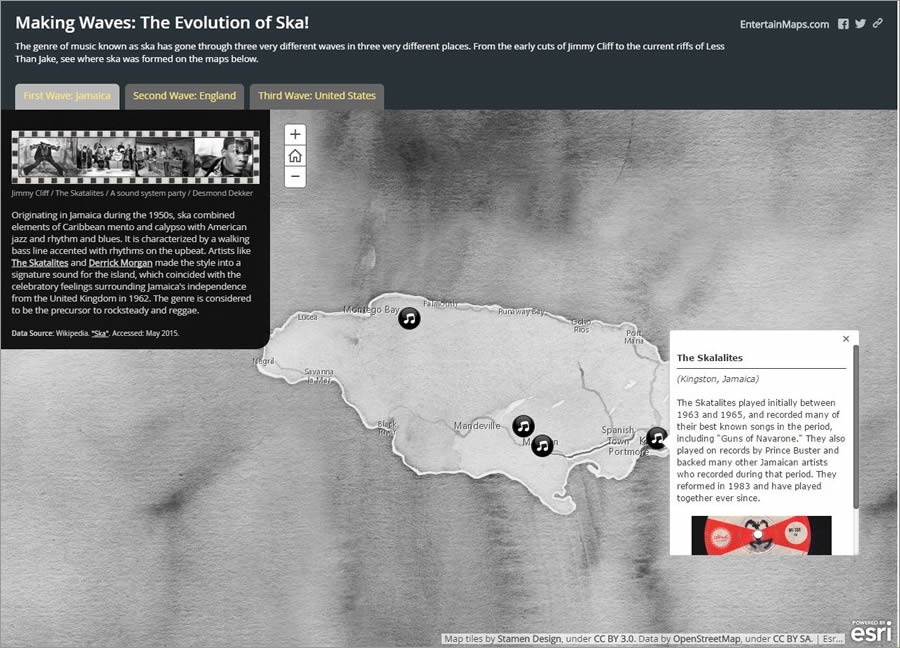 EntertainMaps.com's Mark Gallant embedded videos of ska bands into his story map.