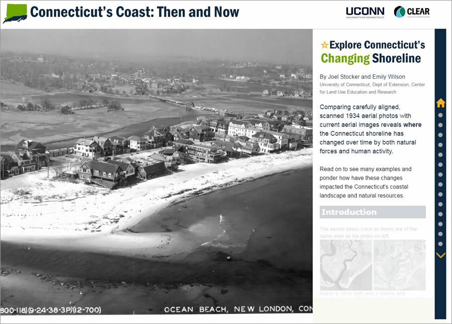 This story map from Emily Wilson and Joel Stocker of the University of Connecticut uses historic and current imagery to compare Connecticut's coast over time.