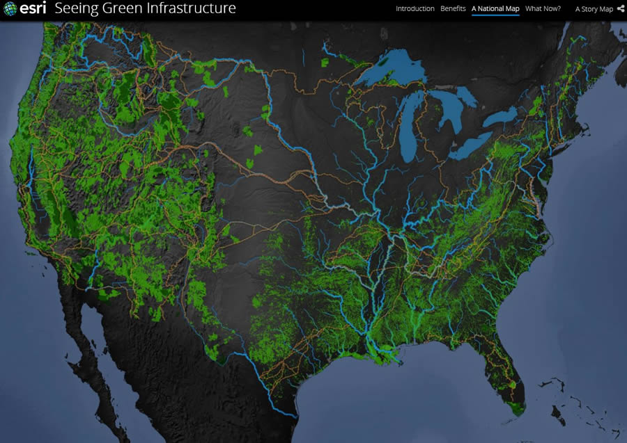 Esri unveiled the Green Infrastructure map at the Esri UC.