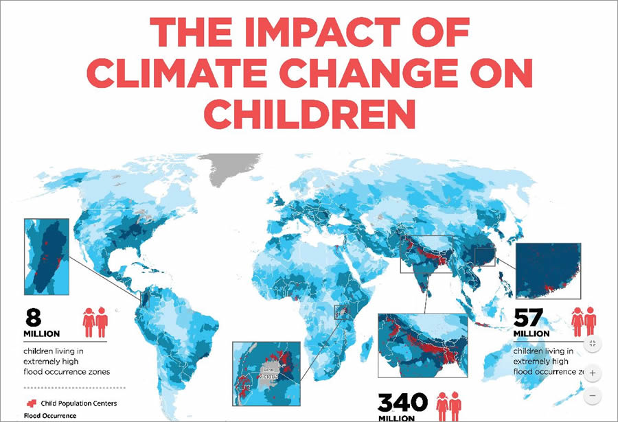 This map was designed to highlight areas of the world where children are very vulnerable to risks caused by climate change, including severe flooding.