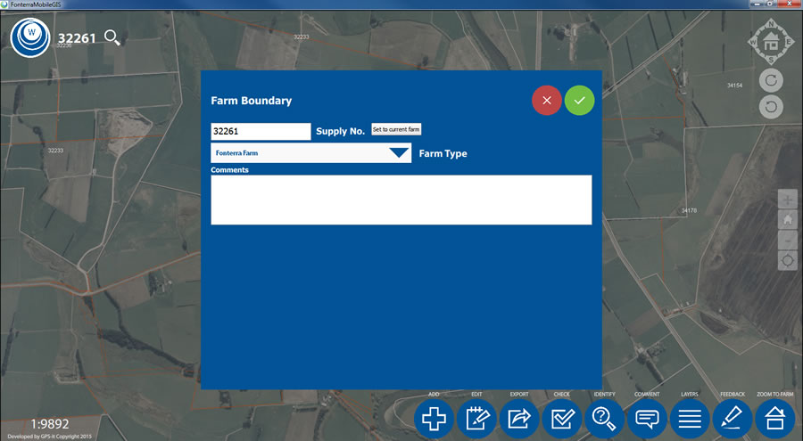 The attribute editing box is used to edit the boundary of a farm.