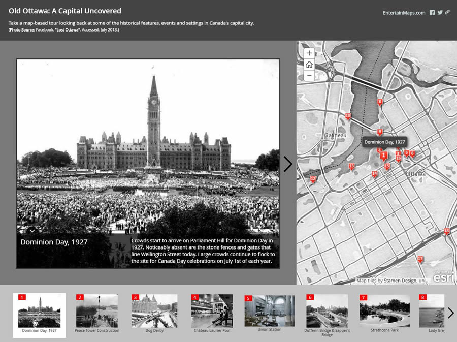 Esri Canada's App of the Month for July 2016, Old Ottawa A Capital Uncovered, contextualizes historical photos of features, events, and settings on a map of Canada's capital.