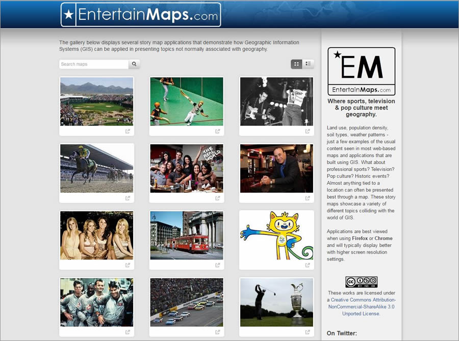 Gallant's EntertainMaps website explores various popular culture topics. It features story maps including Off to the Races: NASCAR's Biggest Tracks; Jurassic Park: Lights, Camera, Hawaii! and Seinfeld: A Map about Nothing.
