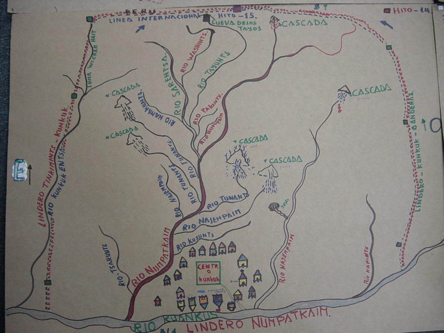 A hand drawn community map includes houses, rivers, and waterfalls in the territories in Transkutuku. Photo courtesy of AmazonGISnet.
