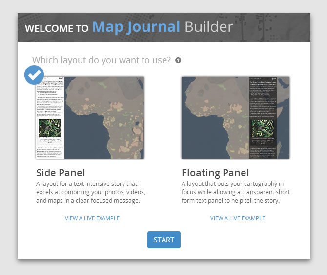 Create a Journal app using Esri's interactive Map Journal Builder.