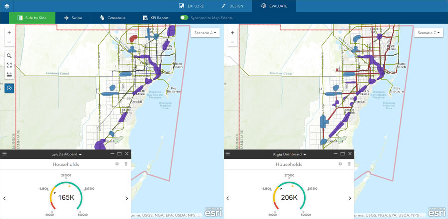 "Student Shannon McElvaney studied where 330,000 households could be accommodated in the future in growing Miami-Dade County, Florida. McElvaney used Esri GeoPlanner for ArcGIS to analyze different scenarios. In scenario A, he tried to put most new development in areas conducive to transit oriented development. ""By picking areas along routes of high traffic and high intensity land use, we were able to sketch in about 165,000 households,"" he said. In scenario C, sea level rise was considered. That factor eliminated some coastal development and added more development inland, resulting in 206,000 households being accommodated."