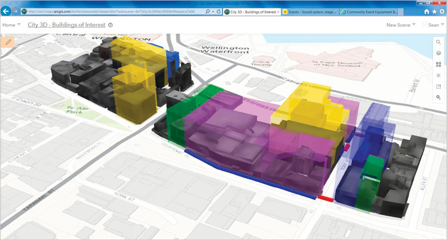 Using web scenes in ArcGIS Online, the Emergency Operations Centre (EOC) put safety zones into context so decision-makers could see which other areas needed to be blocked off and which parts of the city could remain open.