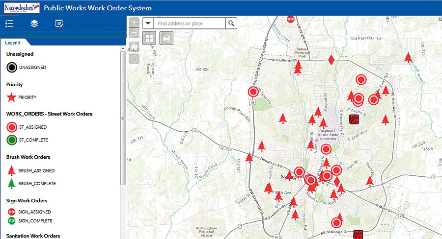 The public works office assistants use ArcGIS Online to assign work orders to field crews.
