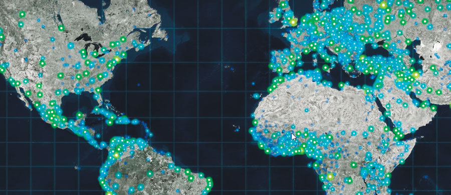 The dark and desaturated Firefly basemap ensures that the data presented on top of it pops.