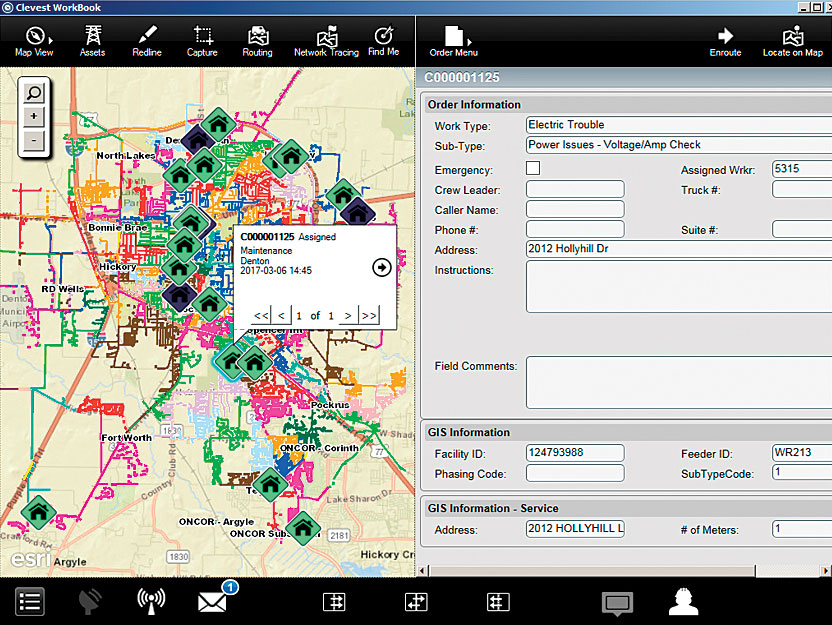 The real-time map view in the Clevest Mobile Workforce Management solution allows employees at Denton Municipal Electric (DME) to instantly filter items such as electric orders, outages, and locates.