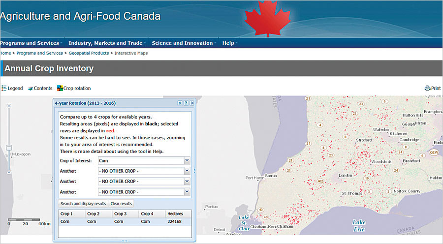 Having rapid visualization of field-level cropping patterns across the Canadian landscape—all in one browser—gives powerful web analytics and visualization to the agriculture industry.