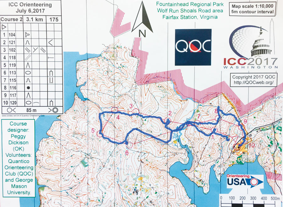 Using what his GPS watch recorded during the race, Menno-Jan Kraak plotted his path in blue on the orienteering map.