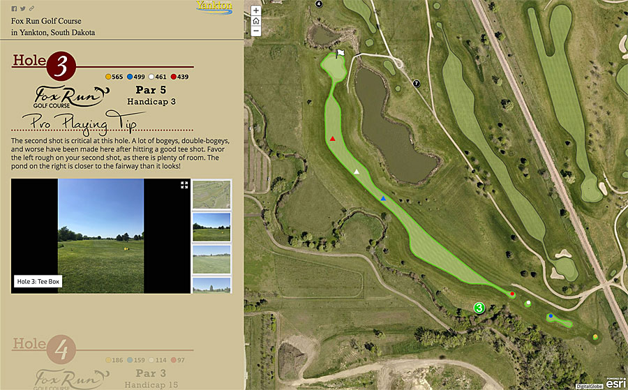 Each hole featured in this story map of the Fox Run Golf Course in Yankton, South Dakota, includes a pro playing tip.
