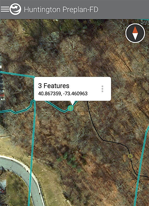 The coordinates of each trail marker are displayed on the app.