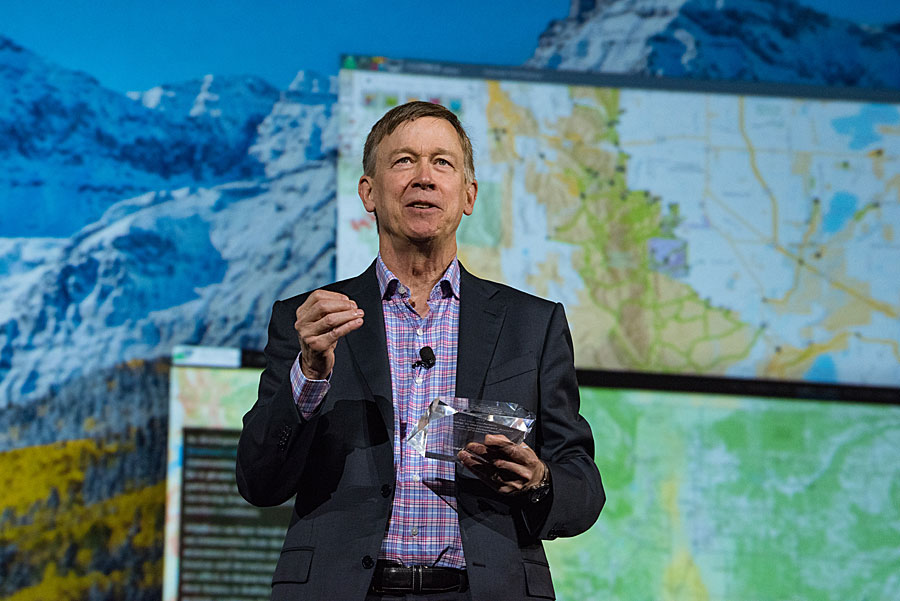 Colorado governor John Hickenlooper was honored for integrating GIS into government.