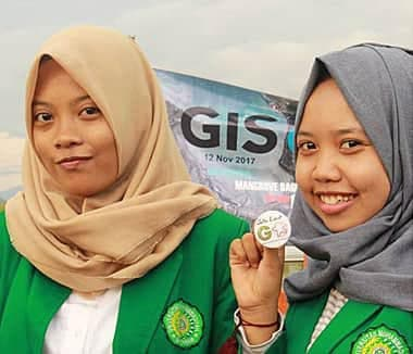 Indonesia children and adults celebrated GIS Day in the Begek Kembar ecotourism area of mangroves.