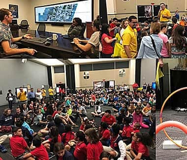 Grade school children attended a GIS Day program at the University of Central Florida last year, where they learned about drones and ArcGIS Online.