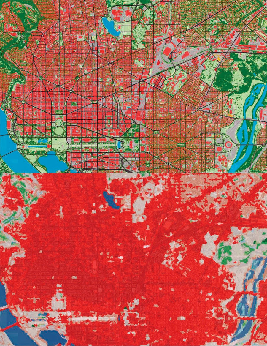 Compared to the National Land Cover Database (bottom), the Chesapeake Conservancy's high-resolution land-cover dataset (top) can break down dense urban development in places like Washington, DC, into details—such as buildings, roads, and street trees—that are valuable for planning restoration projects.