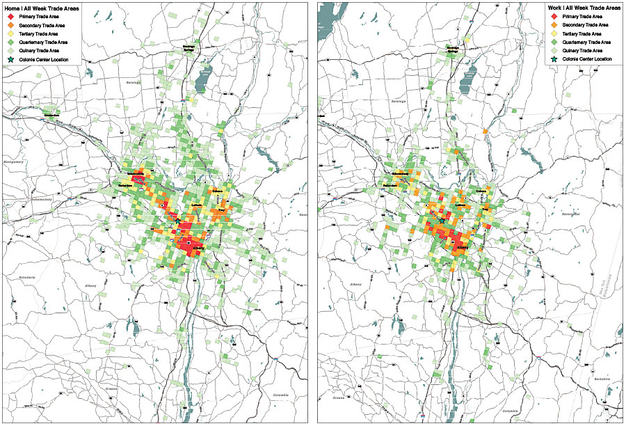 Using two GPS datasets, the Shopping Center Group highlighted the differences between the home locations of people who frequent Colonie Center in Albany, New York, and the work locations of those who patronize the same shopping center. The company can then use Esri Business Analyst Online to uncover slight variations in the demographics and psychographics of Colonie Center guests.