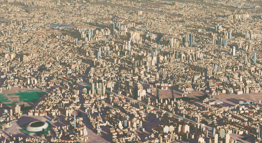 To model a big city like Tianjin, China, which has a population of almost 12 million, Janil can write fairly simple rules in CityEngine and then deploy them onto very large areas.