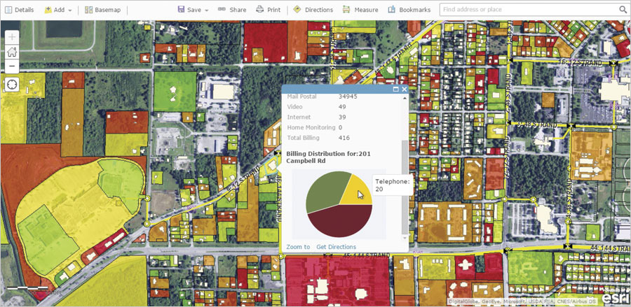 With ArcGIS, Horry Telephone Cooperative can use demographic and consumer data to perform analytics on existing and prospective customers and map new markets.