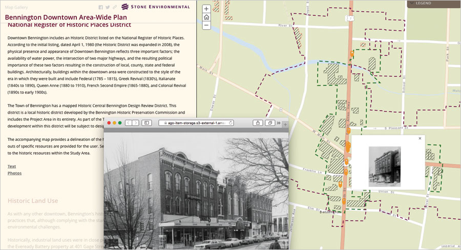 With help from Stone Environmental, Bennington, Vermont, built a story map that summarizes the town's economic history and proposed development scenarios.