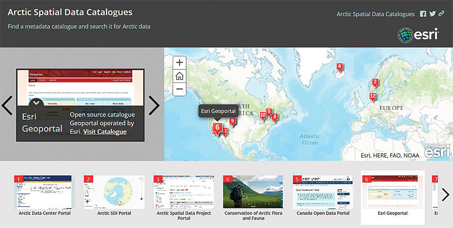 Esri Geoportal Server lets users discover and apply geospatial resources—including datasets, images, and web services—in the Arctic and across the globe.