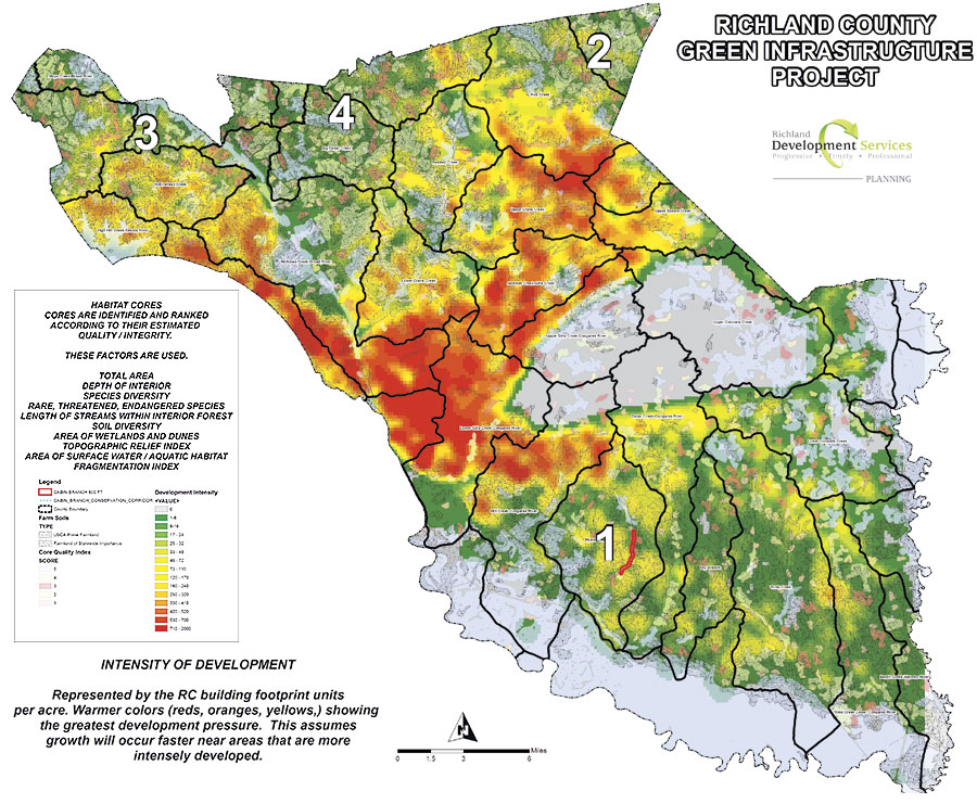 Brenda Carter, the GIS manager for Richland County's planning and development services department, used the green infrastructure tool to identify four priority areas in the county that met the criteria of being an intact core, or habitat, at risk of losing its natural assets.
