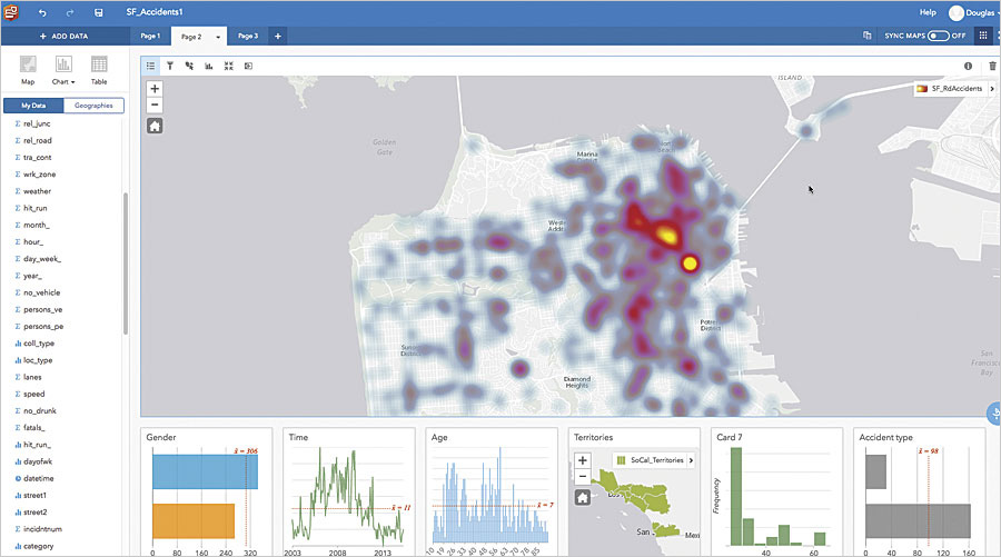 Insights for ArcGIS, a premium app in ArcGIS Enterprise, allows users to drag and drop data into workbooks so they can easily visualize and interact with it.