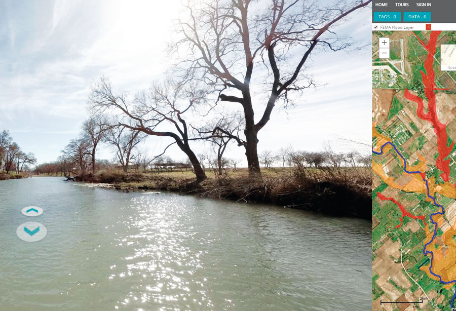 FishViews offers virtual river tours with snapshot 360-degree views taken midstream. GIS shows a corresponding map and river status records.