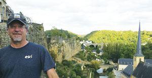 Dan Seidensticker, a GIS specialist wore his Esri T-shirt to Luxembourg City, Luxembourg