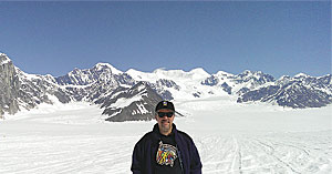 Mike Clark, a GIS database administrator wore his Esri T-shirt on Ruth Glacier near Mount Denali, Alaska