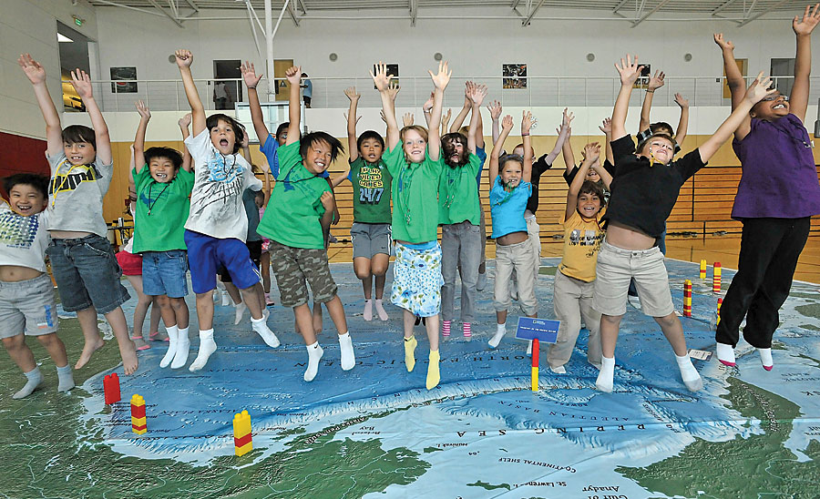 National Geographic Giant Traveling Maps are powerful tools for introducing geography and map-reading skills to students in grades K–8. (Photo by Scott Schilling.)