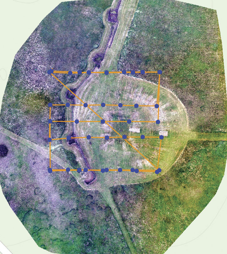 Drone2Map for ArcGIS produced a 2D orthomosaic of the mound at Aztalan, which functions as an imagery basemap of the site.
